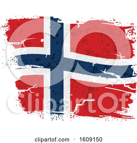 Clipart of a Torn and Distressed Norwegian Flag - Royalty Free Vector Illustration by dero
