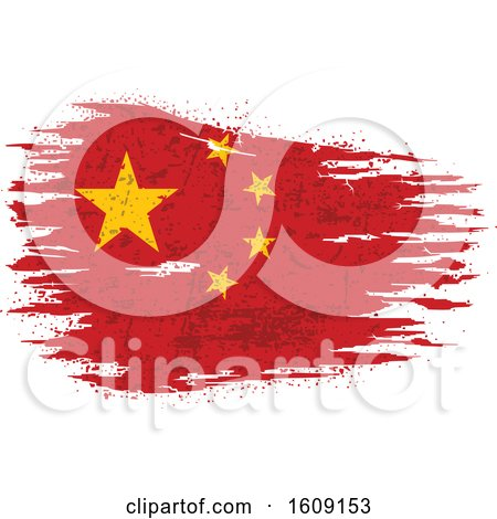 Clipart of a Torn and Distressed Chinese Flag - Royalty Free Vector Illustration by dero