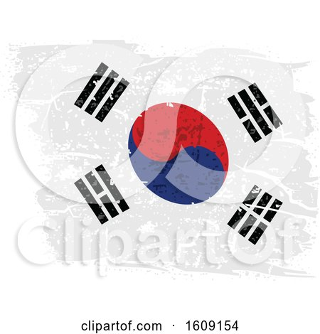 Clipart of a Torn and Distressed South Korean Flag - Royalty Free Vector Illustration by dero