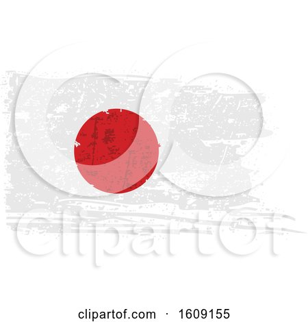 Clipart of a Torn and Distressed Japanese Flag - Royalty Free Vector Illustration by dero