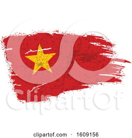 Clipart of a Torn and Distressed Vietnamese Flag - Royalty Free Vector Illustration by dero