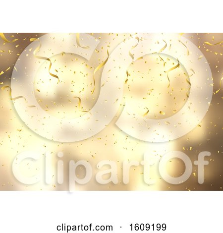 Gold Confetti and Streamers on Defocussed Background by KJ Pargeter