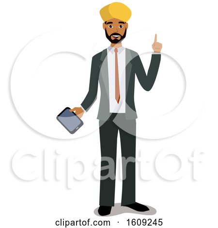 Clipart of an Indian Business Man Holding a Cell Phone or Tablet - Royalty Free Vector Illustration by peachidesigns