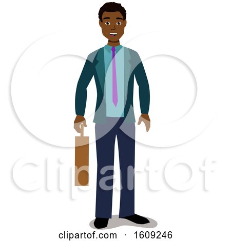 Clipart of a Happy Black Business Man Holding a Briefcase - Royalty Free Vector Illustration by peachidesigns
