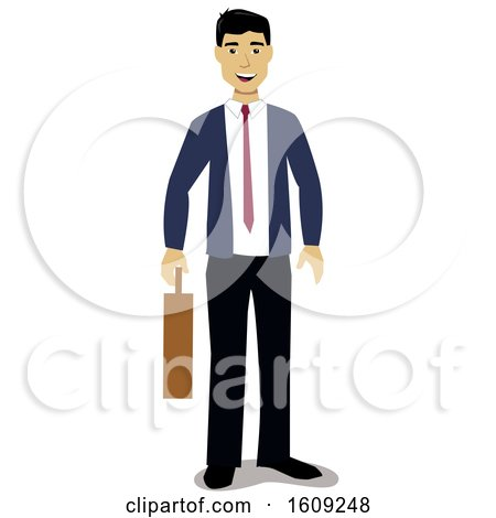 Clipart of a Happy Asian Business Man Holding a Briefcase - Royalty Free Vector Illustration by peachidesigns