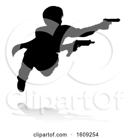 Clipart of a Silhouetted Actor or Action Hero Shooting, with a Reflection or Shadow, on a White Background - Royalty Free Vector Illustration by AtStockIllustration
