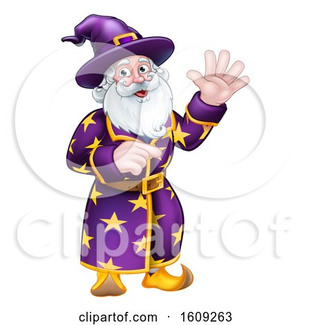 Clipart of a Happy Wizard Waving and Pointing - Royalty Free Vector Illustration by AtStockIllustration