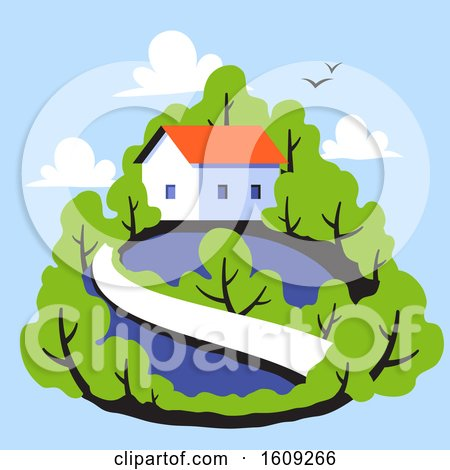Rural Landscape with Cute Small House on Background of Green Leafy Forest by elena