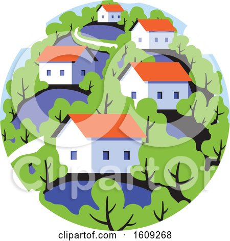 Round Badge with Rural Landscape with Cute Small Houses on Background of Green Leafy Forest Posters, Art Prints