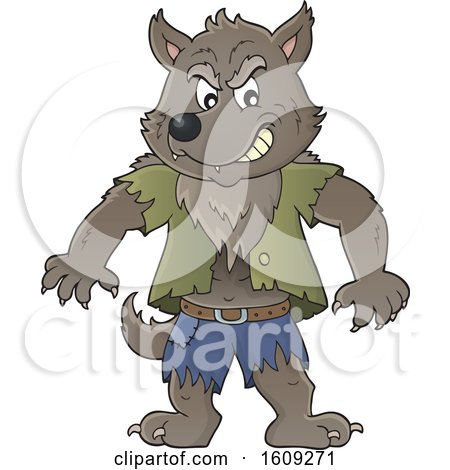 Clipart of a Tough Halloween Werewolf - Royalty Free Vector Illustration by visekart