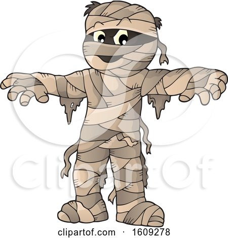 Clipart of a Mummy Holding His Arms out - Royalty Free Vector Illustration by visekart