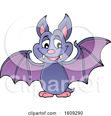 Clipart of a Flying Vampire Bat - Royalty Free Vector Illustration by visekart