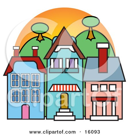 Store Fronts In A Town Clipart Illustration by Andy Nortnik
