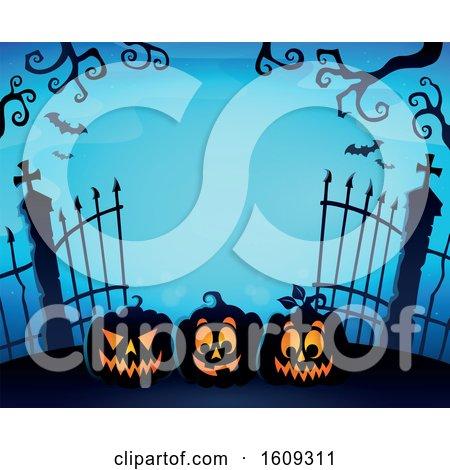 Clipart of a Graveyard Entrance with Gates and Halloween Jackolantern Pumpkins over Blue - Royalty Free Vector Illustration by visekart