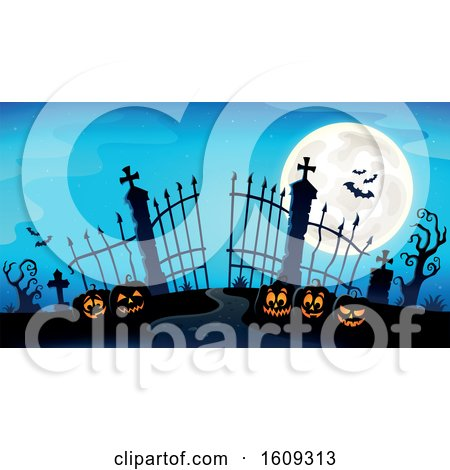 Clipart of a Cemetery Entrance with Gates and Halloween Jackolantern Pumpkins over Blue - Royalty Free Vector Illustration by visekart