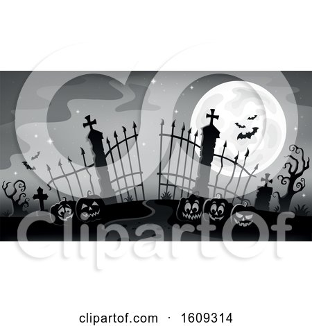 Clipart of a Grayscale Cemetery Entrance with Gates and Halloween Jackolantern Pumpkins over Blue - Royalty Free Vector Illustration by visekart