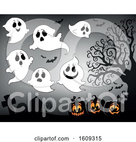 Clipart of a Group of Ghosts over Halloween Jackolantern Pumpkins in a Cemetery - Royalty Free Vector Illustration by visekart
