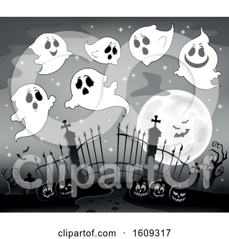 Clipart of a Grayscale Group of Ghosts over Cemetery Entrance with Gates and Halloween Jackolantern Pumpkins - Royalty Free Vector Illustration by visekart