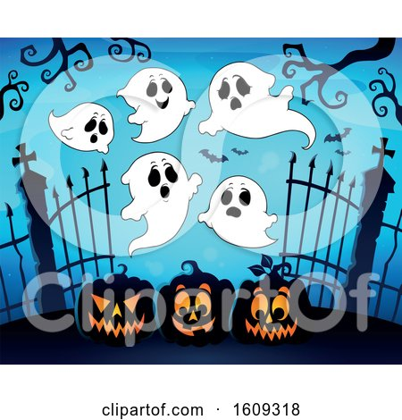 Clipart of a Group of Ghosts over Cemetery Entrance with Gates and Halloween Jackolantern Pumpkins - Royalty Free Vector Illustration by visekart