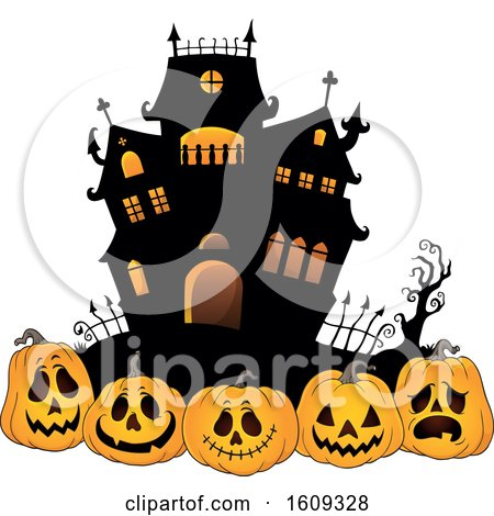 Clipart of a Haunted House and Row of Halloween Jackolantern Pumpkins - Royalty Free Vector Illustration by visekart
