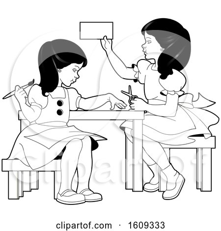 Clipart of Grayscale Girls Doing Crafts and Activities - Royalty Free Vector Illustration by Lal Perera
