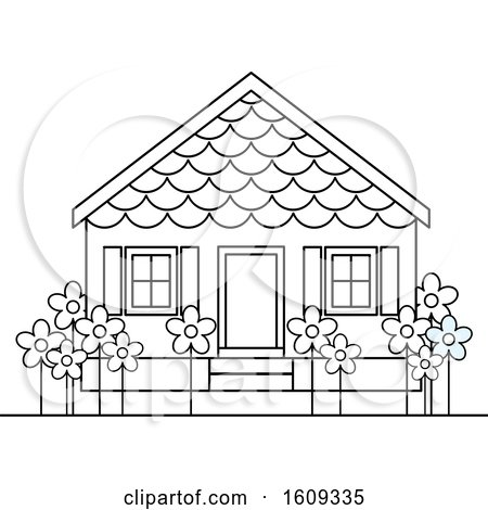 Clipart of a Lineart Pre School Building or House - Royalty Free Vector Illustration by Lal Perera