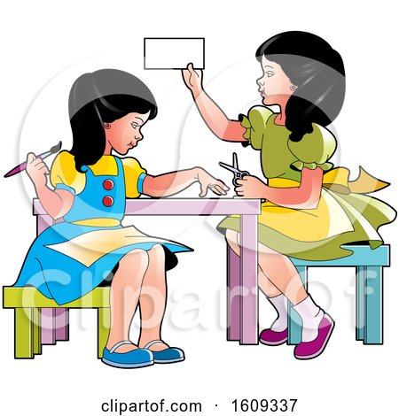 Clipart of Girls Doing Crafts and Activities - Royalty Free Vector Illustration by Lal Perera