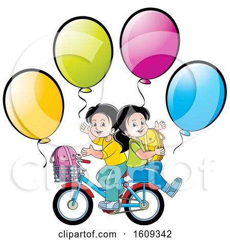 Clipart of a Boy and Girl Riding a Bike Back to School with Balloons - Royalty Free Vector Illustration by Lal Perera