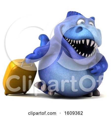Clipart of a 3d Blue T Rex Dinosaur Traveling, on a White Background - Royalty Free Illustration by Julos