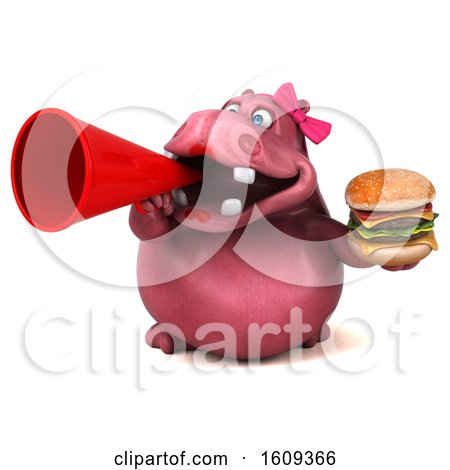 Clipart of a 3d Pink Henrietta Hippo Holding a Burger, on a White Background - Royalty Free Illustration by Julos