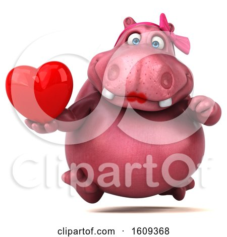 Clipart of a 3d Pink Henrietta Hippo Holding a Heart, on a White Background - Royalty Free Illustration by Julos