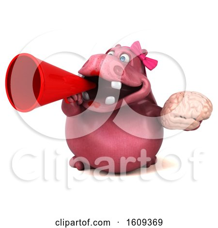 Clipart of a 3d Pink Henrietta Hippo Holding a Brain, on a White Background - Royalty Free Illustration by Julos