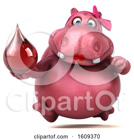Clipart of a 3d Pink Henrietta Hippo Holding a Blood Drop, on a White Background - Royalty Free Illustration by Julos