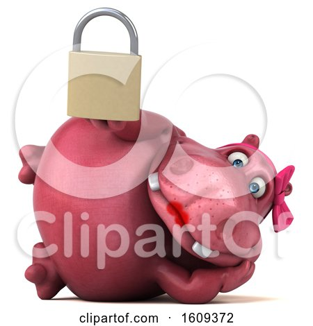Clipart of a 3d Pink Henrietta Hippo Holding a Padlock, on a White Background - Royalty Free Illustration by Julos