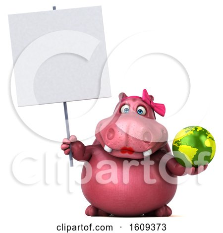Clipart of a 3d Pink Henrietta Hippo Holding a Globe, on a White Background - Royalty Free Illustration by Julos