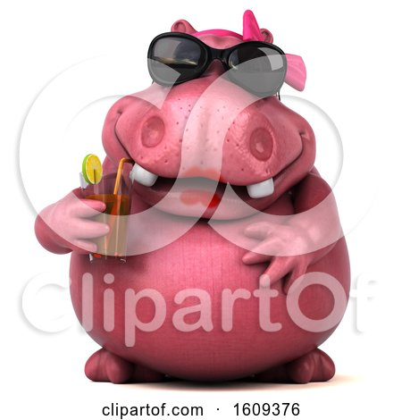 Clipart of a 3d Pink Henrietta Hippo Holding a Drink, on a White Background - Royalty Free Illustration by Julos