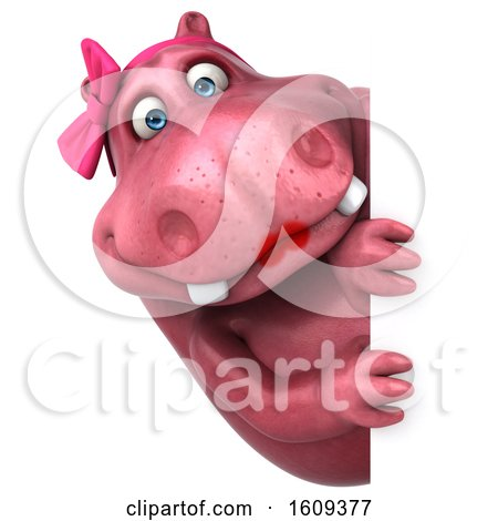 Clipart of a 3d Pink Henrietta Hippo, on a White Background - Royalty Free Illustration by Julos