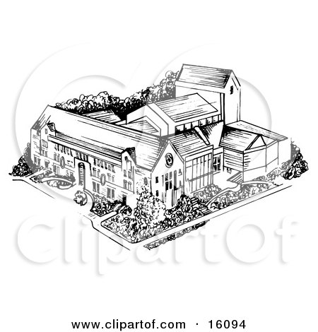 University In Black And White Clipart Illustration by Andy Nortnik