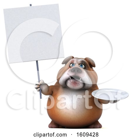 Clipart of a 3d Bulldog Holding a Plate, on a White Background - Royalty Free Illustration by Julos