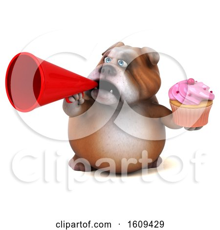 Clipart of a 3d Bulldog Holding a Cupcake, on a White Background - Royalty Free Illustration by Julos