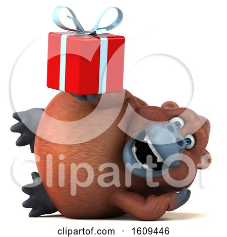 Clipart of a 3d Orangutan Monkey Holding a Gift, on a White Background - Royalty Free Illustration by Julos