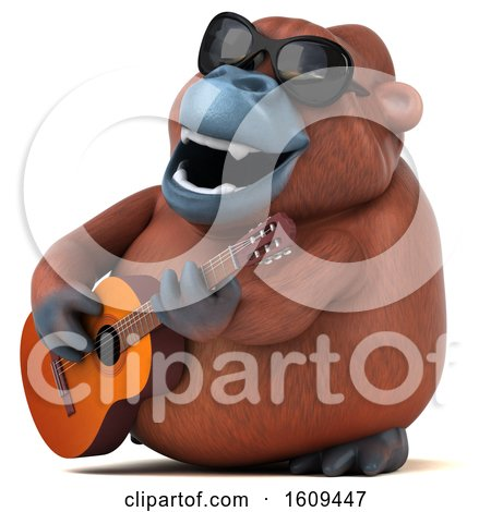 Clipart of a 3d Orangutan Monkey Holding a Guitar, on a White Background - Royalty Free Illustration by Julos