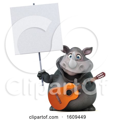 Clipart of a 3d Rhinoceros Holding a Guitar, on a White Background - Royalty Free Illustration by Julos