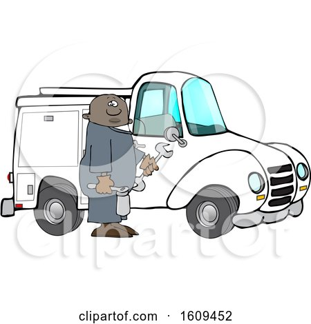 Clipart of a Cartoon Black Male Worker Holding Tools by a Truck - Royalty Free Vector Illustration by djart