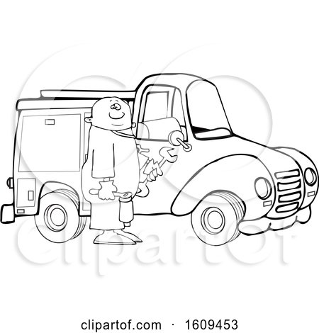 Clipart of a Cartoon Lineart Black Male Worker Holding Tools by a Truck - Royalty Free Vector Illustration by djart