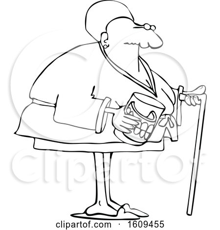 Clipart of a Cartoon Lineart Black Senior Woman with a Cane and Her Teeth in a Glass - Royalty Free Vector Illustration by djart