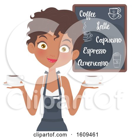Clipart of a Friendly Black Female Barista Holding Coffee Cups - Royalty Free Vector Illustration by Melisende Vector