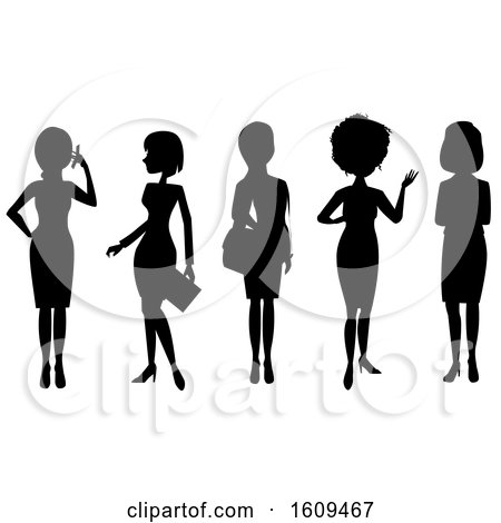 Clipart of Silhouetted Business Women - Royalty Free Vector Illustration by peachidesigns
