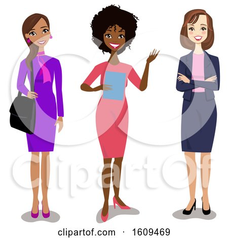 Clipart of a Group of Happy Hispanic Black and White Business Women - Royalty Free Vector Illustration by peachidesigns