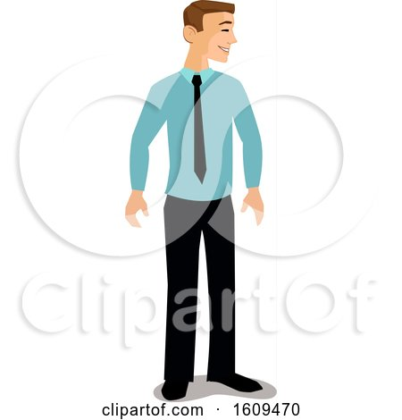 Clipart of a Happy White Business Man Smiling and Facing to the Right - Royalty Free Vector Illustration by peachidesigns